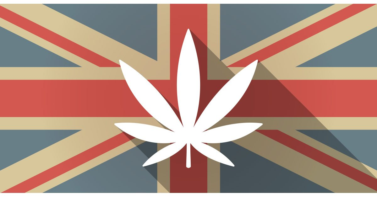 Cannabis leaf on UK flag